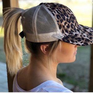 High Ponytail Leopard Ball Cap